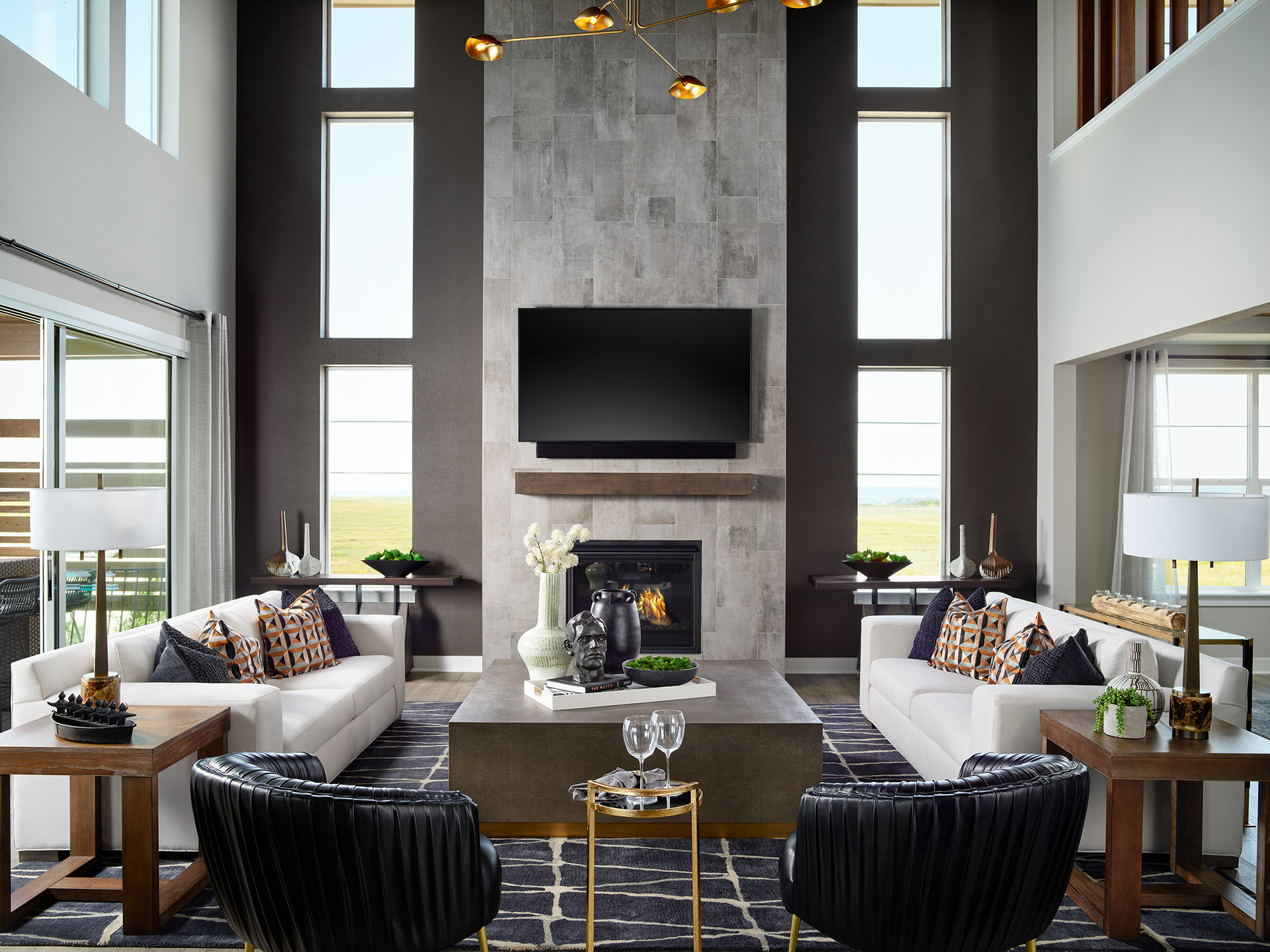 Two-Story Shavano Great Room with Fireplace